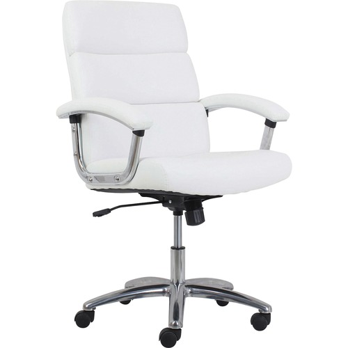 """HON Traction Modern Executive Chair - 5-star Base - White - Leather - 19.5"""" Seat Width x 19"""" Seat Depth - 24.8"""" Width x 26"""" Depth x 37.8"""" Height"""