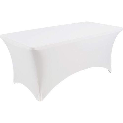 "Iceberg Stretch Fabric Table Cover - 72"" Length x 30"" Width - Polyester, Spandex - White - 1 Each"