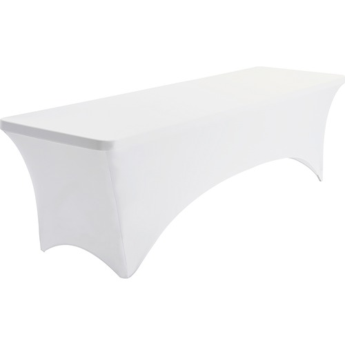"Iceberg Stretch Fabric Table Cover - 96"" Length x 30"" Width - Polyester, Spandex - White - 1 Each"
