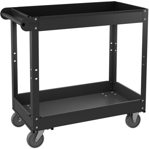 "Lorell Utility Cart - 2 Shelf - 181.44 kg Capacity - Steel - 30"" Length x 16"" Width x 32"" Height - Black - 1 Each"