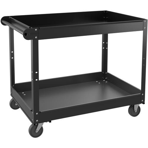 "Lorell Utility Cart - 2 Shelf - 181.44 kg Capacity - Steel - 36"" Length x 24"" Width x 32"" Height - Black - 1 Each"