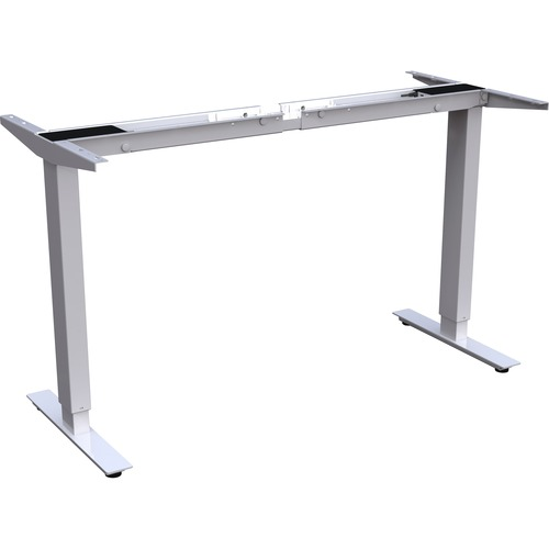 """Lorell Quadro Workstation Sit-to-Stand 2-tier Base - Silver Base - 47"""" Height - Assembly Required"""