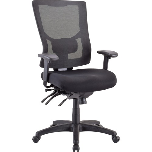 "Lorell Conjure Executive High-back Mesh Back Chair - Black Seat - Black Back - 5-star Base - 24"" Length x 25.2"" Width - 43.7"" Height - 1 Each"