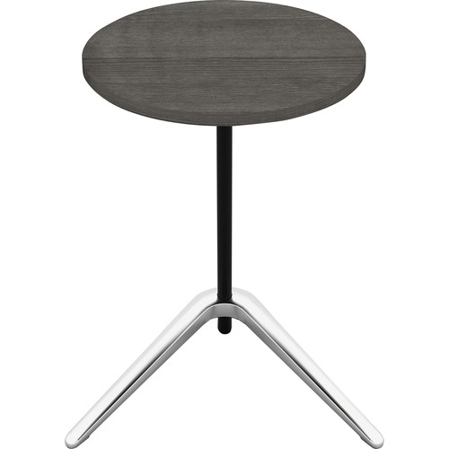 """Lorell Guest Area Round Top Accent Table - Charcoal Round Top - Polished Aluminum Base - 15.8"""" Table Top Length x 15.8"""" Table Top Width - 24.6"""" Height"""