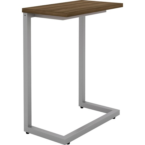 """Lorell Guest Area Cantilever Table - Walnut Rectangle Top - Cantilever Base - 9.9"""" Table Top Length x 17.4"""" Table Top Width - 26.5"""" Height"""