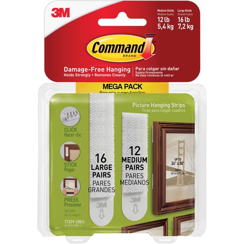 3M Command Picture Hanging Strips Mega Pack - 3 lb (1.36 kg), 4 lb (1.81 kg) Capacity - for Pictures - White - 28 / Pack