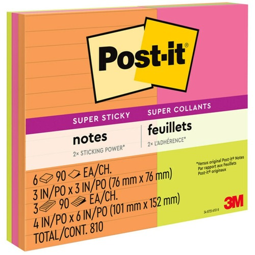 """Post-it® Super Sticky Notes - Rio de Janeiro Color Collection - 3"""" x 3"""" , 4"""" x 6"""" - Square, Rectangle - 90 Sheets per Pad - Assorted - Paper - Sti"""
