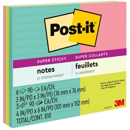 """Post-it® Super Sticky Notes - Miami Color Collection - 3"""" x 3"""" , 4"""" x 6"""" - Square, Rectangle - 90 Sheets per Pad - Assorted - Paper - Sticky, Recyclable - 9 / Pack"""