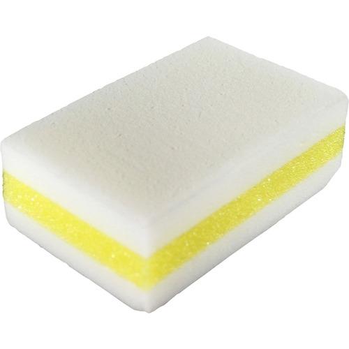 "Genuine Joe Dual-Sided Melamine Eraser Amazing Sponges - 4.5"" Height x 4.5"" Width x 2.8"" Depth - 5/Pack - Cellulose - White, Yellow"
