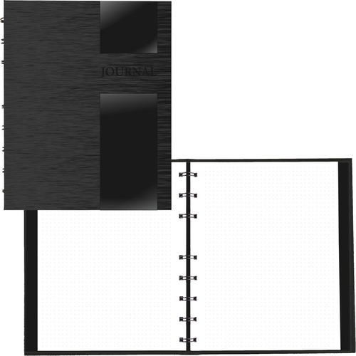 """Blueline Lux Collection Dotted Journal Black - 96 Sheets - 192 Pages - Twin Wirebound - 9 1/4"""" x 7 1/4"""" - White PaperLaminated - Micro Perforated, Hard Cover, Storage Pocket, Durable Cover, Self-adhesive Tab, Refillable - Recycled - 1Each"""