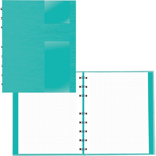 """Blueline Lux Collection Dotted Journal Aqua - 96 Sheets - 192 Pages - Twin Wirebound - 9 1/4"""" x 7 1/4"""" - White PaperLaminated - Micro Perforated, Hard Cover, Storage Pocket, Durable Cover, Self-adhesive Tab, Refillable - Recycled - 1Each"""