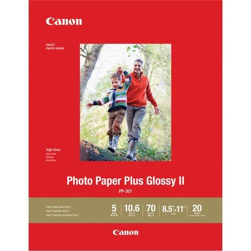 """Canon PP-301 Inkjet Photo Paper - White - Letter - 8 1/2"""" x 11"""" - Glossy - 1 Each"""