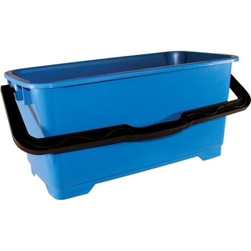 "Impact Products Window Washing Bucket - 22.71 L - Heavy Duty, Handle, Damage Resistant, Bend Resistant, Ergonomic Grip, Long Lasting, Graduated - 11.75"" (298.45 mm) x 10"" (254 mm) - High-density Polyethylene (HDPE) - Blue, Black - 1 Each"