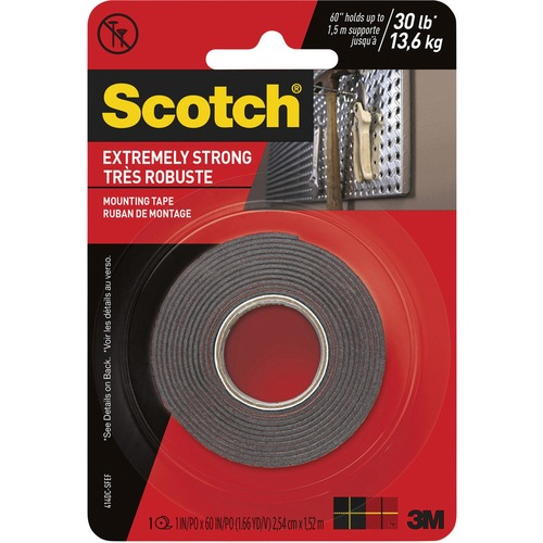 """Scotch Extreme Mounting Tape, 1 in X 60 in, Black - 5 ft (1.5 m) Length x 1"""" (25.4 mm) Width - Acrylic Foam - 1 / Roll - Black"""