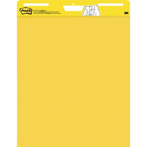 """Post-it® Super Sticky Easel Pad - 25 Sheets - 50 Pages - 25"""" x 30"""" - Bright Yellow Paper - Self-stick, Resist Bleed-through, Repositionable, Super Sticky, Sturdy Back, Built-in Carry Handle, Slot Perforated, Easy Peel, Adhesive Backing - 1Each"""