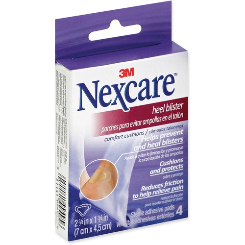 """Nexcare Heel Blister Comfort Cushion - 2.75"""" (69.85 mm) x 1.75"""" (44.45 mm) - 4/Pack - 4 Per Pack - Clear"""