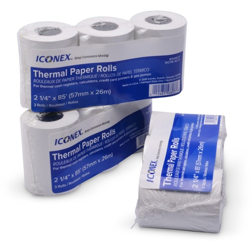 """ICONEX Thermal Cash Register Roll - 2 1/4"""" x 85 ft - 3 / Pack - Durable, BPA Free"""