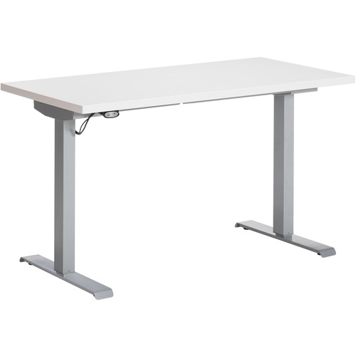 """Global Foli PH3T2448 Standing Desk - Designer White Rectangle Top - Powder Coated Silver T-shaped Base - 2 Legs x 48"""" Table Top Width x 24"""" Table Top Depth x 1"""" Table Top Thickness - 48.6"""" Height x 46"""" Width - Assembly Required"""