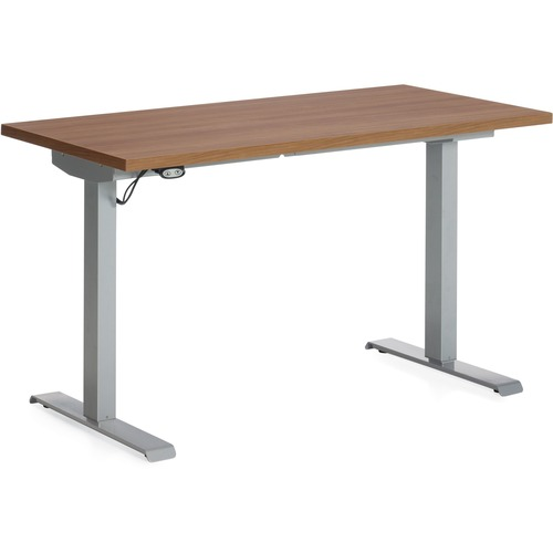 """Global Foli PH3T2448 Standing Desk - Winter Cherry Rectangle Top - Powder Coated Silver T-shaped Base - 2 Legs x 48"""" Table Top Width x 24"""" Table Top Depth x 1"""" Table Top Thickness - 48.6"""" Height x 46"""" Width - Assembly Required"""