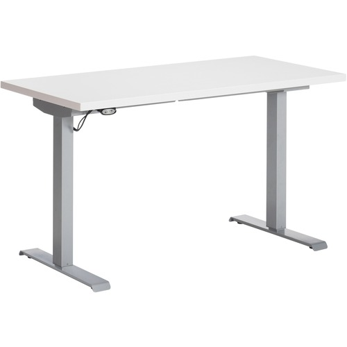 """Global Foli PH3T2460 Standing Desk - Designer White Rectangle Top - Powder Coated Silver T-shaped Base - 2 Legs x 60"""" Table Top Width x 24"""" Table Top Depth x 1"""" Table Top Thickness - 48.6"""" Height x 58"""" Width - Assembly Required"""