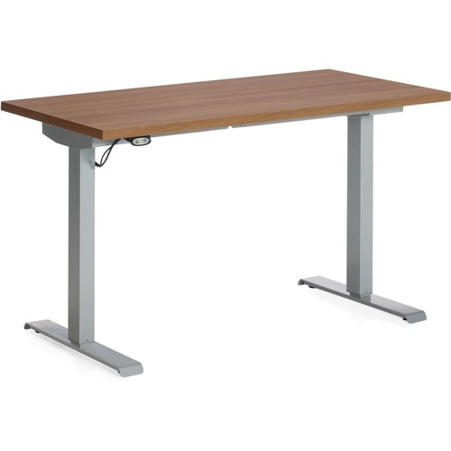"""Global Foli PH3T2460 Standing Desk - Winter Cherry Rectangle Top - Powder Coated Silver T-shaped Base - 2 Legs x 60"""" Table Top Width x 24"""" Table Top Depth x 1"""" Table Top Thickness - 48.6"""" Height x 58"""" Width - Assembly Required"""