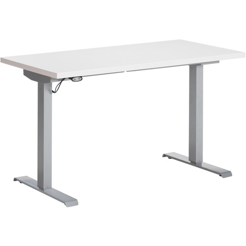 """Global Foli PH3T3060 Standing Desk - Designer White Rectangle Top - Powder Coated Silver T-shaped Base - 2 Legs x 60"""" Table Top Width x 30"""" Table Top Depth x 1"""" Table Top Thickness - 48.6"""" Height x 58"""" Width - Assembly Required"""