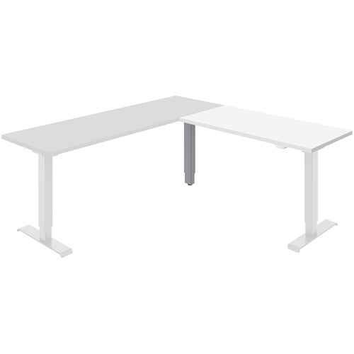 """Global Foli Return - Designer White Top - Powder Coated Silver Post Leg Base x 1"""" Table Top Thickness - 48.6"""" Height x 47"""" Width - Assembly Required"""