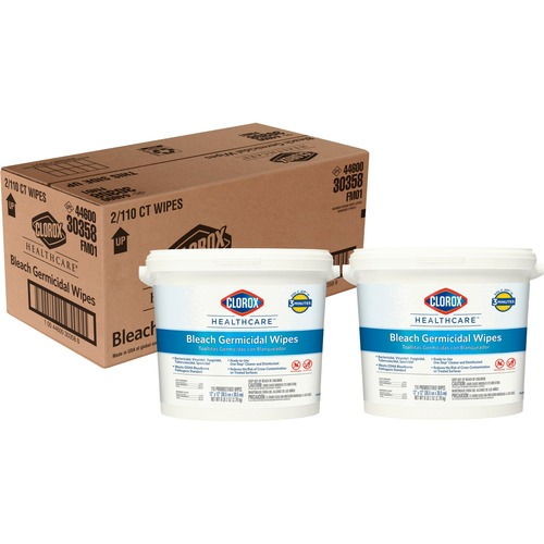 Clorox Healthcare Bleach Germicidal Wipes - Ready-To-Use Wipe - 110 / Canister - 2 / Carton - White