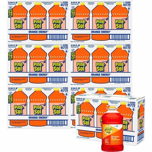 Pine-Sol All Purpose Cleaner - CloroxPro - Concentrate Liquid - 144 fl oz (4.5 quart) - Orange Scent - 63 / Bundle - Orange