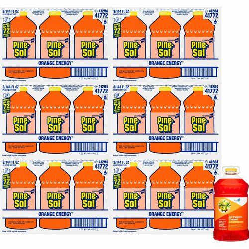 Pine-Sol All Purpose Cleaner - CloroxPro - Concentrate Liquid - 144 fl oz (4.5 quart) - Orange Scent - 126 / Pallet - Orange