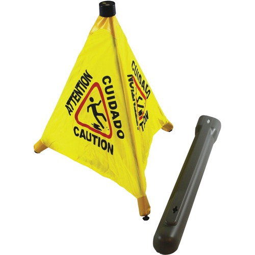 """Impact Products Caution Sign - 1 Each - Attention Print/Message - 18"""" (457.20 mm) Width x 20"""" (508 mm) Height - Cone Shape - Black Print/Message Color - Portable - Plastic, Metal, Fabric - Yellow"""
