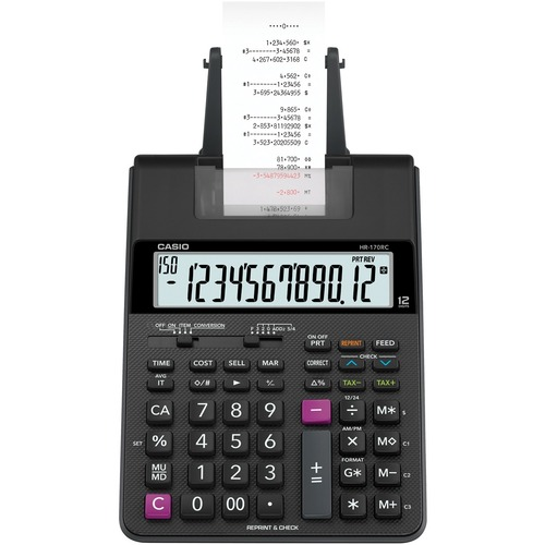 """Casio HR-170RC Printing Calculator - Dual Color Print - 2 lps - Dual Power, Two-color Printing - 2.25"""" (57.15 mm) - 12 Digits - LCD - AC Supply/Battery Powered - 4 - AA - 2.6"""" x 6.5"""" x 11.6"""" - Black - Desktop"""