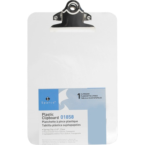 """Business Source Plastic Clipboard - 6"""" x 9"""" - Spring Clip - Plastic - Clear - 1 Each"""