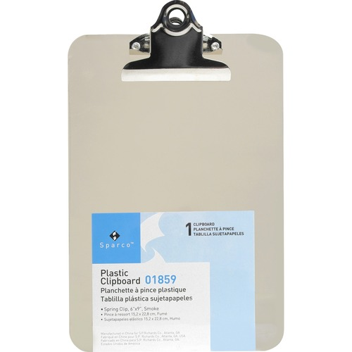 Business Source Compact Plastic Clipboard - Spring Clip - Plastic - Smoke - 1 Each