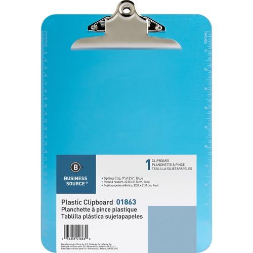 Business Source Spring Clip Plastic Clipboard - Spring Clip - Plastic - Blue - 1 Each