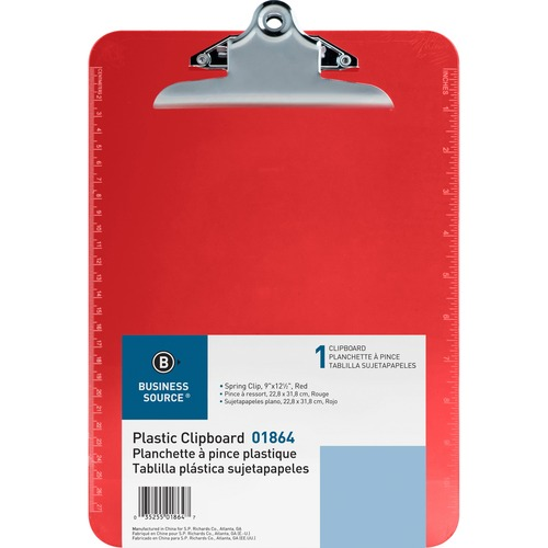 Business Source Spring Clip Plastic Clipboard - Spring Clip - Plastic - Red - 1 Each