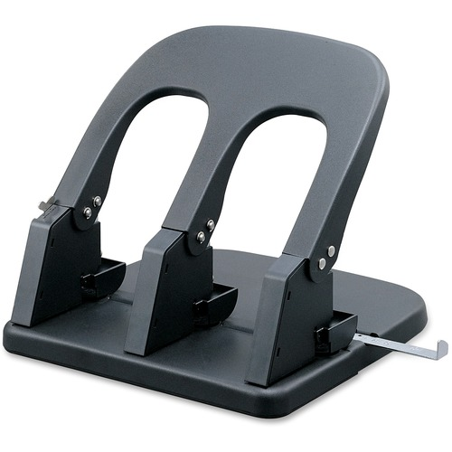 Business Source Adjustable Three-hole Punch - 3 Punch Head(s) - 100 Sheet - Black
