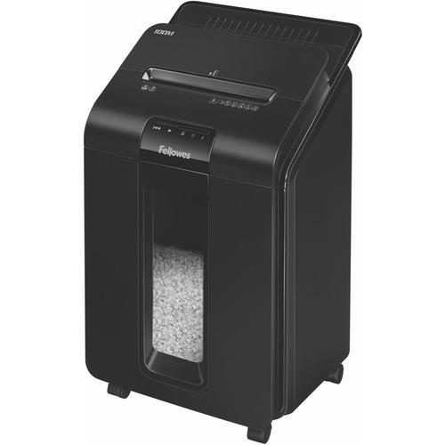 "Fellowes AutoMax™ 100M Auto Feed Shredder - Non-continuous Shredder - Micro Cut - 100 Per Pass - for shredding Paper, Staples, Credit Card, Paper Clip - 0.2"" x 0.4"" Shred Size - P-4 - 2.44 m/min - 8.6"" Throat - 15 Minute Run Time - 22.71 L Wastebin"