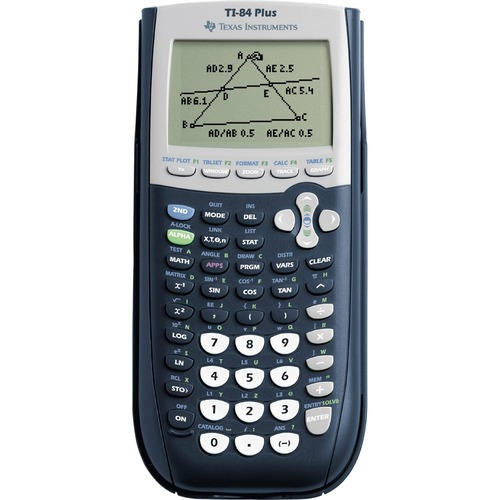 """Texas Instruments TI-84 Plus Graphing Calculator - Clock, Date, Battery Backup - 24 KB, 480 KB - RAM, Flash - 8 Line(s) - 16 Digits - Battery Powered - 4 - AAA - 0.9"""" x 3.3"""" x 7.5"""" - Black - 1 Each"""
