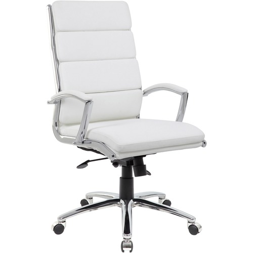 "Boss Executive CaressoftPlus™ Chair with Metal Chrome Finish - White Vinyl Seat - White Vinyl Back - Chrome Frame - 5-star Base - 20"" Seat Width x 21"