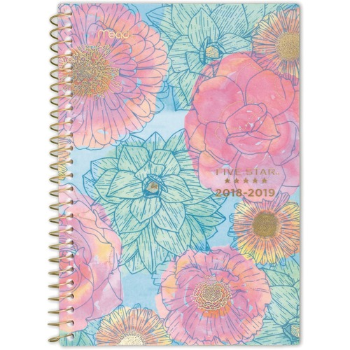 At-A-Glance In Bloom Academic Weekly/Monthly Planner - Medium Size - Academic - Julian Dates - Monthly, Weekly - July till June - 1 Week, 1 Month Doub