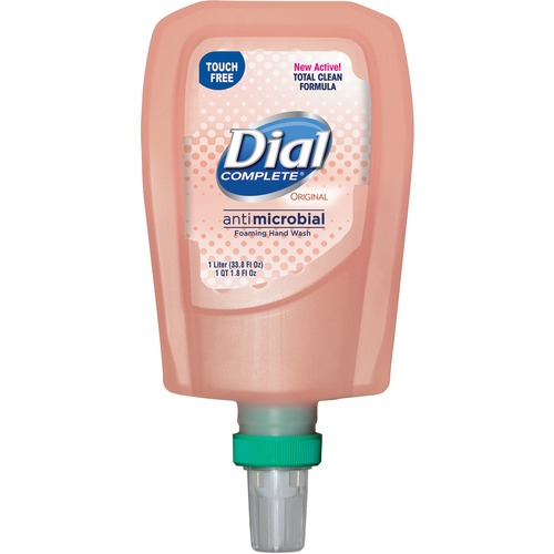 Dial FIT TouchFree Refill Antimicrobial Soap - 33.8 fl oz (1000 mL) - Touchless Dispenser - Kill Germs - Hand - Peach - Non-drying - 3 / Carton