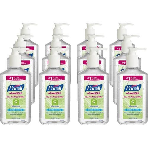 PURELL® Sanitizing Gel - 12 fl oz (354.9 mL) - Pump Bottle Dispenser - Kill Germs - Hand - Clear - 12 / Carton
