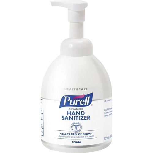 PURELL® Sanitizing Foam - 18.1 fl oz (535 mL) - Pump Bottle Dispenser - Kill Germs - Hand, Skin - Clear - Chemical-free, Non-aerosol - 4 / Carton