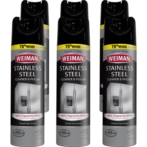 Weiman Products Stainless Steel Cleaner/Polish - Aerosol - 17 fl oz (0.5 quart) - Floral Scent - 6 / Carton - Clear