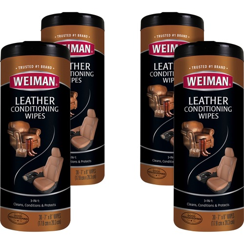 """Weiman Products Leather Wipes - Wipe - 7"""" Width x 8"""" Length - 30 / Can - 4 / Carton - White"""