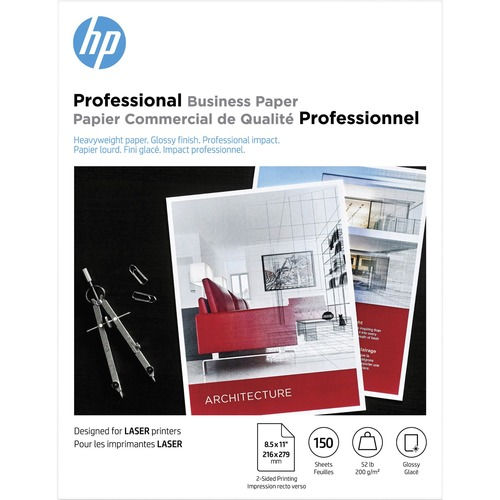 """HP Laser Brochure/Flyer Paper - White - 97 Brightness - Letter - 8 1/2"""" x 11"""" - 52 lb Basis Weight - 200 g/m² Grammage - Smooth, Glossy - 150 / Pack"""