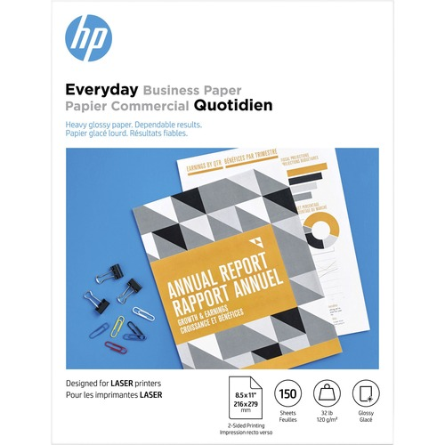 """HP Laser Photo Paper - White - 95 Brightness - Letter - 8 1/2"""" x 11"""" - 32 lb Basis Weight - 120 g/m² Grammage - Glossy"""