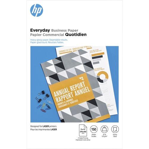 "HP Laser Photo Paper - White - 95 Brightness - Tabloid - 11"" x 17"" - 32 lb Basis Weight - 120 g/m² Grammage - Glossy"