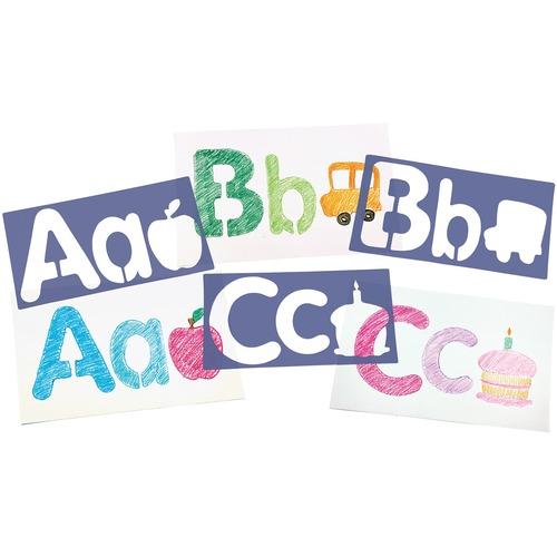 "Roylco Stencil - 6"" (152.40 mm) - Uppercase Letter, Lowercase Letter, Picture, Alphabet - 12.99"" (330 mm)6.30"" (160 mm)"